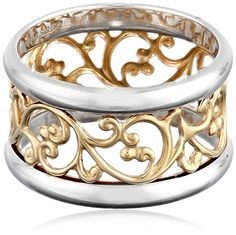 Gold over Sterling Silver Filigree Band Ring - Jewelry For Her Jewelry For Her, I Love Jewelry, Jewelry Art, Gold Jewelry, Jewelry Rings, Jewelery, Fine Jewelry, Jewelry Design, Sterling Silver Filigree