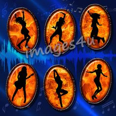 Fire Dance Silhouettes (1) 25 oval images 30x40mm, 22x30mm, 18x25mm, 13x18mm for resin pendants,jewelry, bottlecaps, hang tags, paper crafts