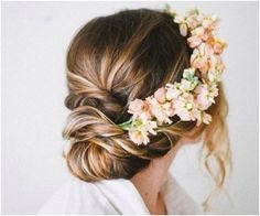Flower garland, floral head piece, headband, wedding hair inspiration, boho bride, peach, loose bun, knot, waves, natural, back to basics