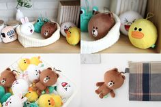 "LINE FRIENDS Plush Toy Stuffed Character Doll with Rubber Ring 4.7"" (11Types) #LINEPLUS #StuffedToywithRubberRing"