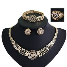 African Jewelry Sets Gold Plated Statement Necklace Earrings Bracelet Ring Set For Women Crystal Jewelry Costume Accessory