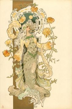 Art Nouveau Postcard, art by Eva Daniell, published by Raphael Tuck woman in grey & yellow, stands holding very long stemmed chrysanthemums