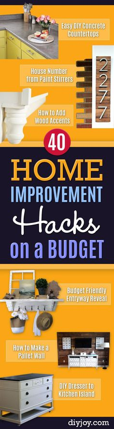 DIY Home Improvement On A Budget - Easy and Cheap Do It Yourself Tutorials for Updating and Renovating Your House - Home Repair andDecor Tips and Tricks, Remodeling and Decorating Hacks - DIY Projects and Crafts by DIY JOY Diy Home Decor Rustic, Easy Home Decor, Cheap Home Decor, Home Improvement Loans, Home Improvement Projects, Home Projects, Tips And Tricks, Budget Home Decorating, Decorating Tips