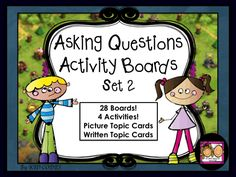 $3.00  These activities will help students engage in more dynamic conversations by asking questions. This packet has 4 different choices/levels that get increasingly challenging so you can move on as your students improve and or use the boards of your choice with a wide variety of learners. The high interest background from a popular video game helps get students