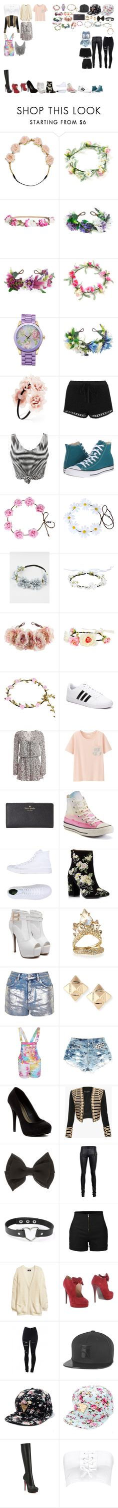 """""""Packing for oppas"""" by royalsinthedark ❤ liked on Polyvore featuring Carole, H&M, Rock 'N Rose, Picard & Cie, Forever 21, Topshop, WithChic, Converse, Full Tilt and adidas NEO"""