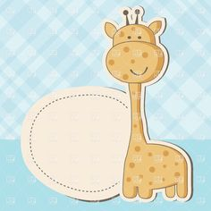 Cute Giraffe And Round Lable For Text  Vintage Baby Boy Arrival