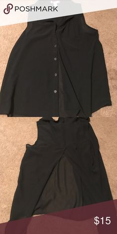 Sheer sleeveless button up shirt Sleeveless button up sheer black shirt, opens in the back. Feel free to make me an offer Tops Button Down Shirts
