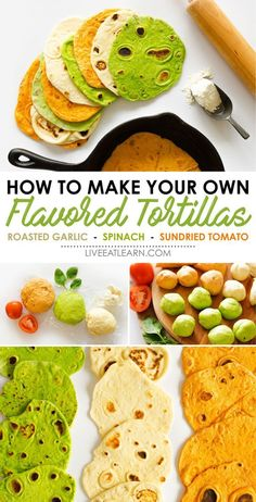 Did you know you can make your own flavored tortillas? Not only is it insanely easy, but the possibilities are endless. This homemade flour tortilla recipe is a family favorite idea that will change your life when it comes to sandwishes and wraps! Recipes With Flour Tortillas, Homemade Flour Tortillas, Paleo Tortillas, Coconut Flour Tortillas, How To Make Tortillas, Mexican Food Recipes, Vegan Recipes, Cooking Recipes, Bread Recipes