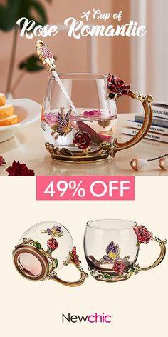 【49% off】Enamel Glass Rose Flower Tea Cup Set Spoon Coffee Cup Cold Drinks Beer Mug.#cup #flower #gifts