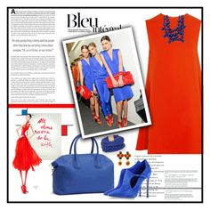 """""""Blue and Red"""" by youaresofashion ❤ liked on Polyvore featuring Anja, McQ by Alexander McQueen, GUESS by Marciano, Casadei, BCBGMAXAZRIA, Kenneth Jay Lane and Chanel"""