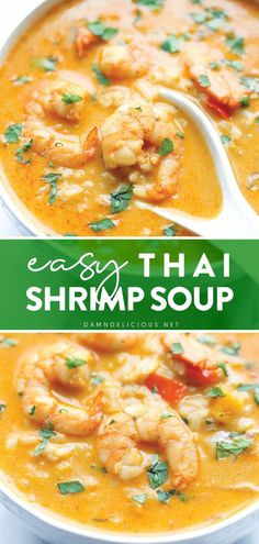 Why settle for takeout when you can try this dinner idea for tonight? Not only is this Thai Shrimp Soup recipe unbelievably easy to make at home, but it is healthier and tastes a million times better, too. Enjoy this budget-friendly comfort food in a bowl! Save this pin! Best Shrimp Recipes, Shrimp Recipes For Dinner, Best Soup Recipes, Real Food Recipes, Cooking Recipes, Yummy Food, Easy Asian Recipes, Ethnic Recipes, Thai Shrimp Soup
