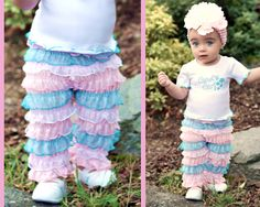 Pastel Ruffled Romper Pants  http://www.faithbaby.com/pastel-ruffled-romper-christian-toddler-pants.html #faithbaby #christianclothing #ruffledpants