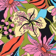Negro y multicolor impreso floral estiramiento popelín de algodón Tela por el patio | Telas estado de ánimo