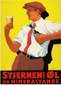 Dansk Plakatkunst  Plakat, Stjernens øl og mineralvande ca. 1932, inkl. ramme  Plakat    1.100 kr.