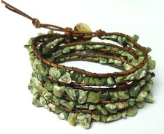 Green Leather Wrap Bracelet with RHYOLITE Chan Luu