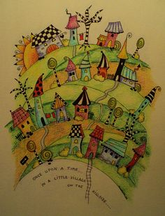 Zentangle inspired village x 20 cm) Doodle Art, Doodle Drawings, Kunstjournal Inspiration, Art Journal Inspiration, Art Journal Pages, Art Journals, Journal Prompts, Pintura Graffiti, Wal Art