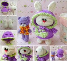 Amigurumi is the Japanese art of crocheting small stuffed animals and anthropomorphic creatures using the single crochet stitch. Link will take you to page where you can download pattern for the bunny.