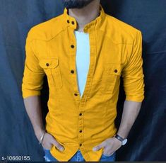 Checkout this latest Shirts Product Name: *YELLOW DOUBLE POCKET CASUAL SHIRT* Fabric: Cotton Sleeve Length: Long Sleeves Pattern: Solid Multipack: 1 Sizes: L, XL Easy Returns Available In Case Of Any Issue   Catalog Rating: ★4.1 (1245)  Catalog Name: Comfy Fashionista Men Shirts CatalogID_1955890 C70-SC1206 Code: 794-10660155-1821