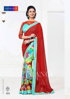 Saptrangi Georgette Digital Print Half And Half Saree. Pallu Fabric: Bamberg Poly Georgette, Digital Print. Skirt Fabric: Bamberg Poly Georgette, Catonic Butti. Border Fabric: Pure Heavy Silk. Blouse Fabric; Pure Heavy Silk & Soft Rasal Net