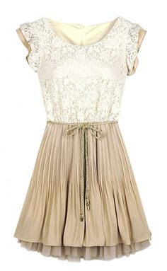Beige Lace Frill Sleeve Belt Chiffon Pleated Dress - cute and appropriate
