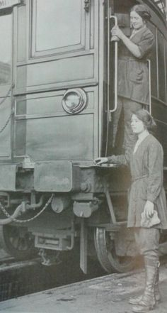 """For the Railway Women in WW1, more heavy-duty work required purely practical clothes, and the shocking adoption of men's trousers.  The 40 trouser-wearing women employed in the engine-sheds at York were said to cause """"no small stir as they take their after-dinner walk."""" Sheffield workers had blue trouser overalls, described as """"natty and workmanlike."""""""