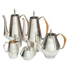A Gio Ponti Diamond, Sterling Silver Coffee Set, Reed and Barton