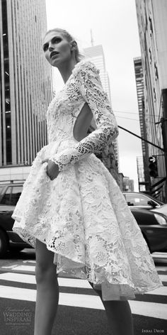 inbal dror 2016 bateau neck long bell sleeve lace ball gown short high low wedding dress style 02 sdv -- Popular Wedding Dresses in 2016
