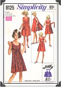 Reversible Mod Dress Pattern - Size 12 14 Breast 34 36 Simplicity 8125 - 3 pieces, Scoop neck, No side seams, Sewing Pattern Evening Dress Patterns, Wrap Around Dress, Reversible Dress, Mod Dress, Dress Sewing, Vintage Sewing Patterns, 60s Patterns, Clothing Patterns, Simplicity Patterns