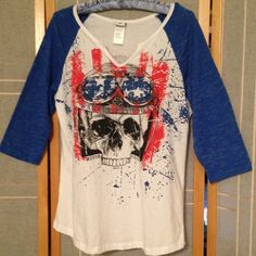 "Red White & Blue Skull Harley-Davidson Raglan LG Harley-Davidson 3/4 Raglan Skull Tee in Ladies Large features Burnout material in Blue 3/4 Sleeves on White. Red White & Blue theme. Made in U.S.A.  NWT -stain on back side, shown it last photo.  I disclose all flaws. Sold ""as is"". Priced accordingly. Harley-Davidson Tops"