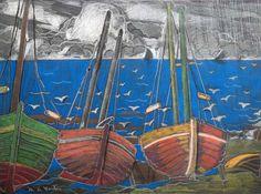 Marc-Aurèle Fortin (Canadian, Les barques, ca. Pastel on paper Canadian Art, Sale Artwork, Classic Art, Landscape Artist, Sculptures, Fine Art, Australian Art, Painting, Art