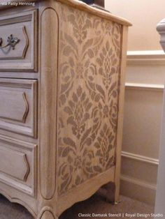 DIY Painted Dresser: This stencil on the side just adds to the charming character of the actual dresser itself! Home DIY. Home craft. Refurbished Furniture, Paint Furniture, Repurposed Furniture, Furniture Projects, Furniture Making, Furniture Makeover, Home Furniture, Antique Furniture, Wooden Furniture