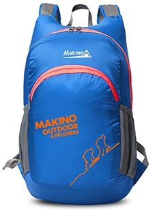 Makino Ultralight Foldable Travel Backpack Outdoor Shoulders Bag 22L Blue * Click image for more details.