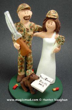 shotgun hunters wedding cake topper
