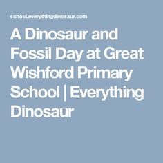A Dinosaur and Fossil Day at Great Wishford Primary School | Everything Dinosaur