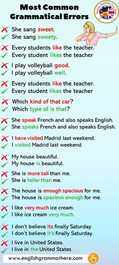 Most Common Grammatical Errors in English - English Grammar Here English Grammar Notes, Teaching English Grammar, English Sentences, English Writing Skills, English Phrases, Grammar Lessons, English Language Learning, English Lessons, American English Grammar