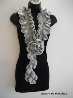 Crochet pattern ruffle rose scarf nr09 - via @Craftsy thinking about making this for Crystal
