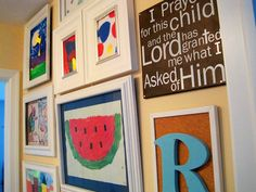 5 Wall Gallery Ideas for Kids' Artwork -2nd floor entry wall between halls