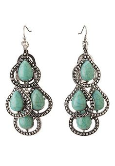 Turquoise stone teardrop earrings (original price, $12) available at #Maurices