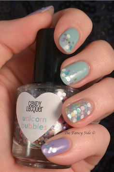 Candy Lacquer Unicorn Bubbles over China Glaze Kinetic Candy & Tarty to the Party