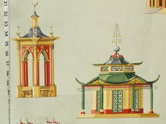 A Schumacher fabric. This has different architectural follies. The buildings are crisp, with many details. The background is a grid of lines, which emphasizes the preciseness of the buildings. Each building has many details- the half moon on the gothic folly, the temple bells on the pagoda, the flags on the Oriental building with the moon window. Also seen are neoclassical European buildings.