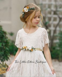 This timeless dress comes in antique ivory or off white. Our heirloom quality vintage style flower girl dress is perfect for any style wedding. We have this dress pictured with our beautiful flower sash and sunflower hair comb. Beach Flower Girls, Bohemian Flower Girl Dress, Flower Girl Dresses Country, Rustic Flower Girls, Tulle Flower Girl, Tulle Flowers, Girls Dresses, Vintage Flower Girl Dresses, Pageant Dresses