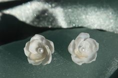 Petite Ivory & White seashell flower earrings with pearl centers