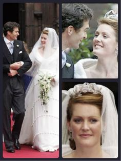 Lady Tamara Grosvenor and Edward van Custem Wedding (6th Duke of Westminster's daugher) wearing the Fabregè Laurel Wreath Tiara