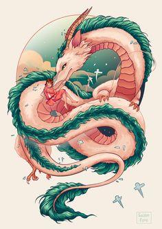 ArtStation - spirited away, Golden Rose ( Rosa G ) Studio Ghibli Tattoo, Studio Ghibli Art, Arte 8 Bits, Chihiro Y Haku, Anime Scenery Wallpaper, Anime Tattoos, Animes Wallpapers, Japanese Art, Cartoon Art