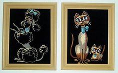 Vintage Velvet Rhinestone Paint By Number Poodle & Siamese Cat Pair!