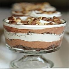 "Chocolate Trifle I ""This is now known among our friends as ""The Dessert"". Before every party, I'm asked if I'm bringing ""The Dessert""."