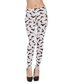 Just Re-Stocked!  #GUNS   Long Leggings are White with Black Guns for Polka Dots! 95% Cotton. - 5dollarfashions.com