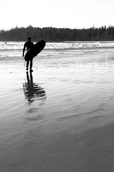 Surfing on Long Beach, British Columbia