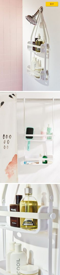 Preston Flex Shower Caddy Apartment, Storage, Bathroom Storage   Innovative shower caddy with two shelves that stretch to fit any size product! Crafted from rust-free silicone, caddy securely mounts over a shower head or door with bungee-style top anchors and four suction cups. Includes 4 hooks for added storage. Content + Care - Plastic, silicone, rubber - Wipe clean - Imported Size - Dimensions:...