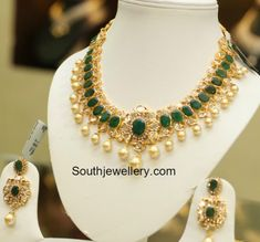 Emerald CZ Necklace Set